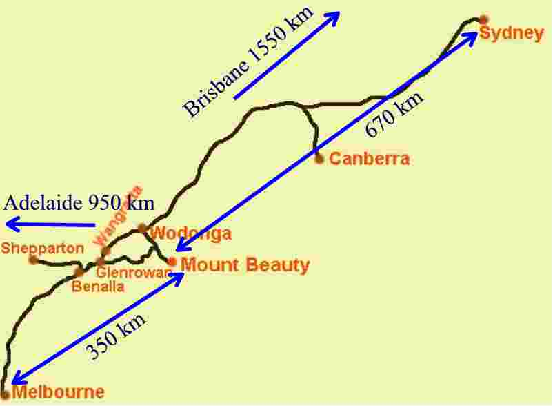 Map how to get to Mount Beauty